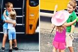 Em gái mỗi ngày chờ anh trai đi học về và ôm anh thắm thiết