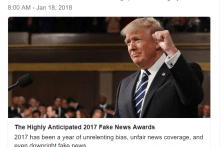 """Tổng thống Trump công bố Giải """"Tin giả của năm"""""""