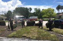 Đội cứu hỏa đưa bệnh nhân đi viện rồi quay về giúp trồng cỏ