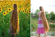 """""""Công chúa tóc mây"""" phiên bản thực ở Nga, 1 lần gội 2 chai dầu"""
